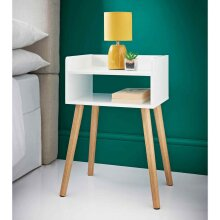 MALMO ELEGANT STYLISH WHITE GLOSS WOODEN BEDSIDE TABLE CABINET STORAGE UNIT NEW