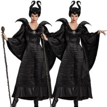 Deluxe Maleficent Horns Evil Witch Queen Halloween Cosplay Outfits Fancy Dress