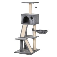 PawHut Cat Activity Tree with Condo Sisal-Covered Scratching Posts for Kitty Climbing