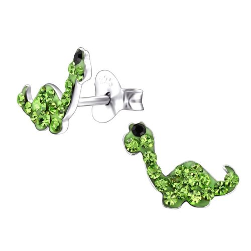 Children's Sterling Silver Green Dinosaur Crystal Stud Earrings