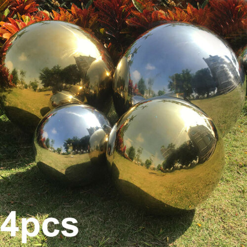 Mirror Garden Spheres Set of 4 Silver  Stainless Steel Gazing Balls