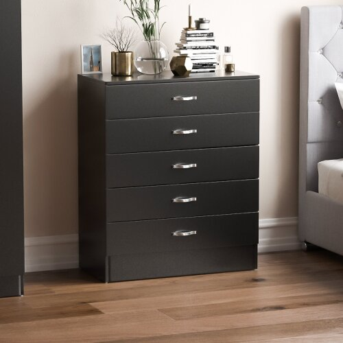 (Black) Home Discount Riano 5 Drawer Bedroom Chest