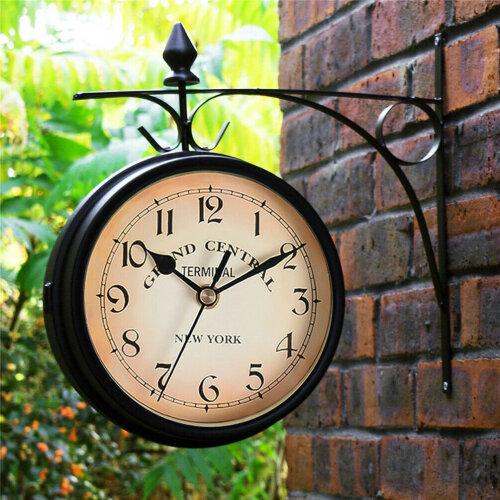 Garden Paddington Station Wall Clock Double Sided Outside Bracket