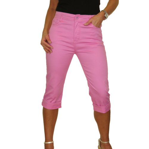 (Pink, 14) Womens High Waist Capri 3/4 Length Stretch Jeans Chino Sheen Turn Up Cuff10-20