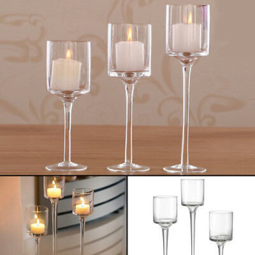 Set of 3 Tall Glass Large Candle Holders Centrepiece Wedding Candles