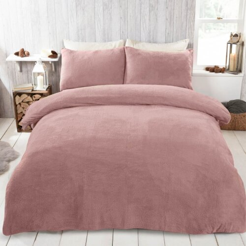 (Blush Pink, Double) Brentfords Teddy Duvet Set Brentfords Teddy Fleece Duvet Cover with Pillow Case Thermal Warm Bedding Set Brentfords Teddy Fleece Duvet Cover with Pill