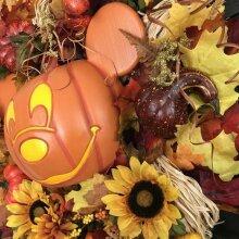 Mickey Mouse Halloween Wreath Orange Pumpkin Skeleton Disney