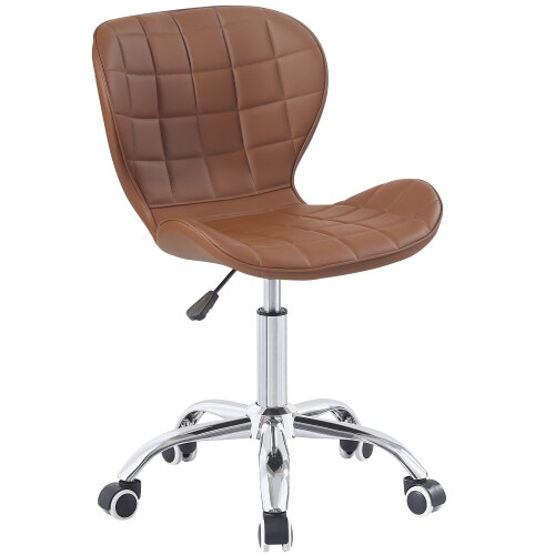 (Brown) Charles Jacobs Adjustable Swivel Chair | Office Chair With Chrome Wheels