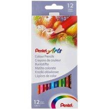 Pentel Arts Colour pencils, Assorted colours, 1 pack of 12 pencils