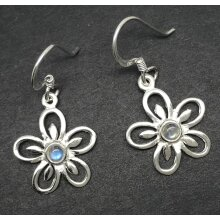Rainbow moonstone flower drop earrings, solid Sterling silver.