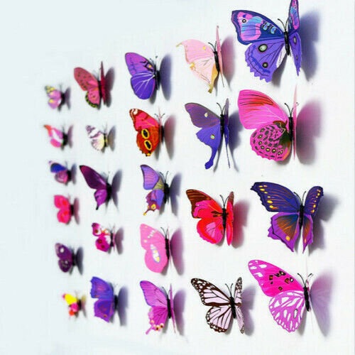 12pcs 3D Butterfly Wall Art Decal Stickers Magnetic Home Room Decoration DIY