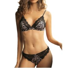 Leopard Lace Bra Thong Set Women Sexy Underwear Lingerie