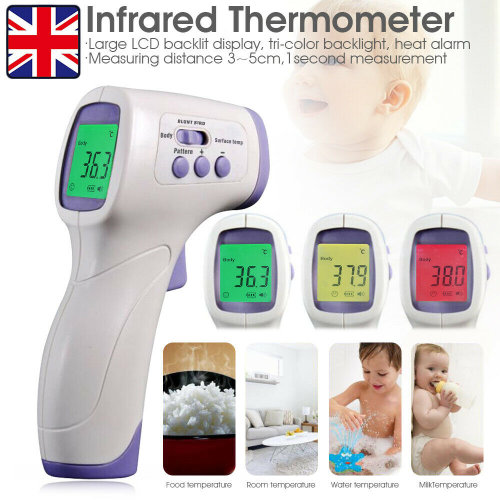 UK Stock! Touchless Forehead Thermometer Gun,No-Contact Infrared Thermometer