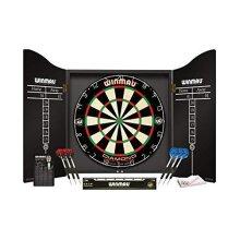 WINMAU Professional Dart Set includes Diamond Plus Dartboard - Black High Quality Cabinet - 2 Sets of Darts - Official Oche Line