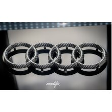 MODIFIX Audi Carbon Fibre Front Rear Badge Emblem Rings RS A3 S3 RS3 A4 S4 RS4 A5 RS5 S5