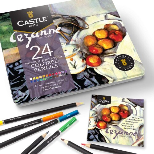 Castle Arts Cezanne Themed 24 Piece Coloured Pencil Drawing Set in Tin Box