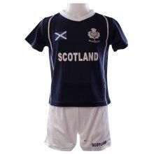 Kids Scotland Sports Kit Navy T-shirt White Shorts