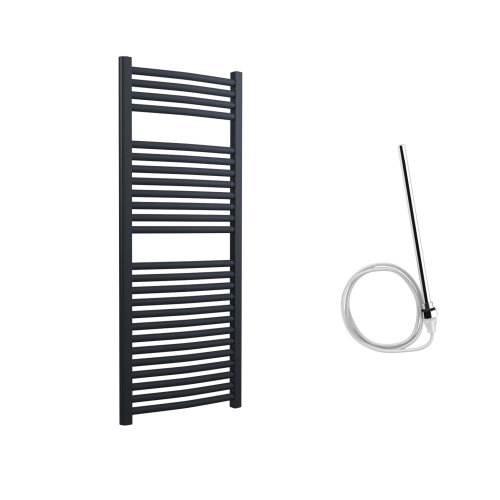 Lazzarini Roma Curved 25mm Anthracite Ladder Heated Towel Rail 1230mm x 500mm Electric Only - Non-Thermostatic