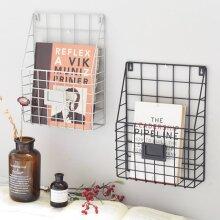 Metal Magazine Letter Newspaper Basket Wall Shelf  Organizer