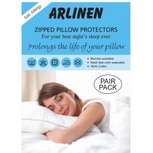Anti Allergy 100% Cotton Pair of Pillow Protectors with Zip in White