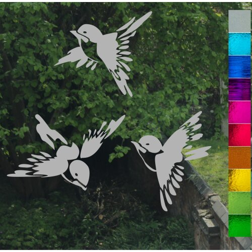Chinese Bird Trio Stained Glass or Etch Effect Window Stickers