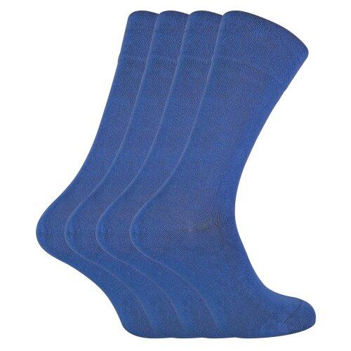 (7-11 UK, Denim) SOCK SNOB - 4 Pairs Bamboo Super Soft Suit Socks for Men & Women
