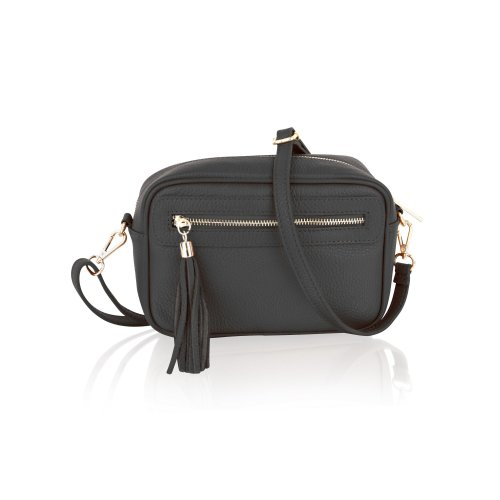 """Woodland Leather Black 9.0"""" Small Cross Body Bag Central Zip Compartment Adjustable Removeable Shoulder Strap"""