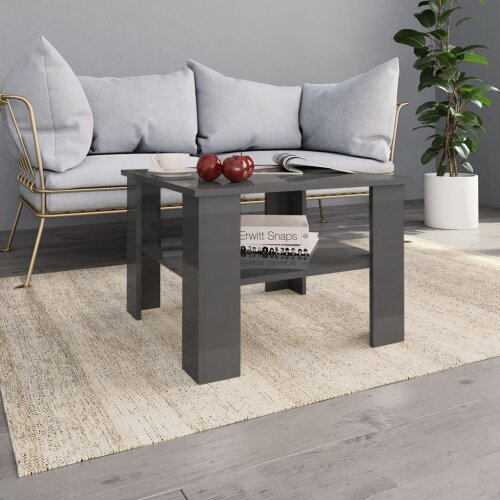 vidaXL Coffee Table High Gloss Grey Chipboard Couch Dining Telephone Table
