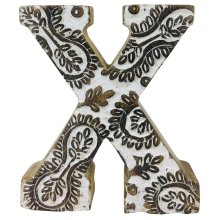Hand Carved Wooden White Flower Letter X