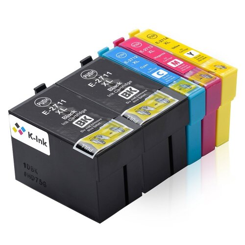K-Ink Set of 5 Ink Cartridges to replace Replacement for Epson 27XL  Series Compatible / 2 Black, 1 Cyan, 1 Magenta, 1 Yellow