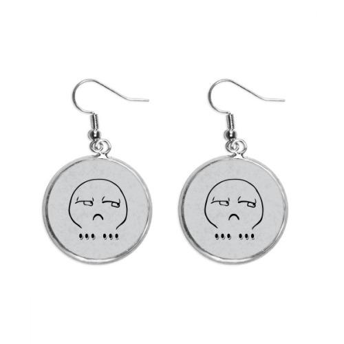 Silent Black Cute Chat Emoji Pattern Ear Dangle Silver Drop Earring Jewelry Woman
