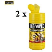 2 x Big Wipes Cleaning Wipes Antibacterial 80 Wipes Tub