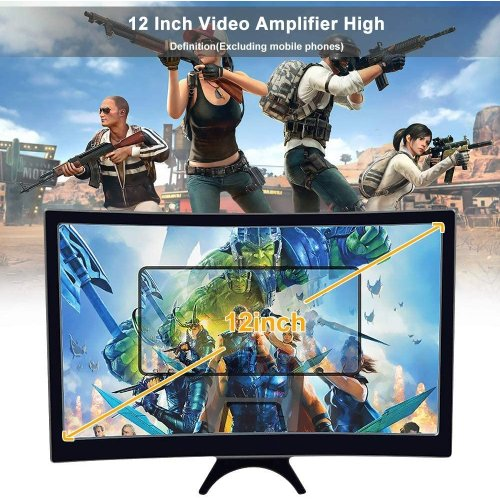 """12"""" inch Mobile Phone Curved Screen Magnifier 3D HD Video Amplifier Stand"""