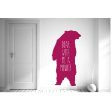 Bear With Me A Minute Wall Stickers Art Decals - Large (Height 107cm x Width 57cm) Violet