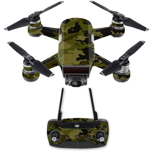 MightySkins DJSPCMB-Green Camouflage Skin Decal for DJI Spark Mini Drone Combo - Green Camouflage