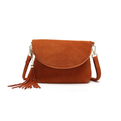 """Woodland Leather Tan Fold Over Suede 10.0"""" Clutch Style Bag"""