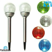 Solar Powered Colour Changing Led Glass Ball Garden Crack Lights Multicolored
