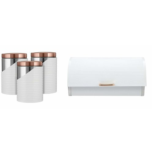 ROSE GOLD & WHITE Linear Bread bin,and set of 3 Canisters