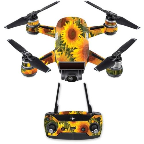 MightySkins DJSPCMB-Sun Flowers Skin Decal for DJI Spark Mini Drone Combo Sticker - Sun Flowers