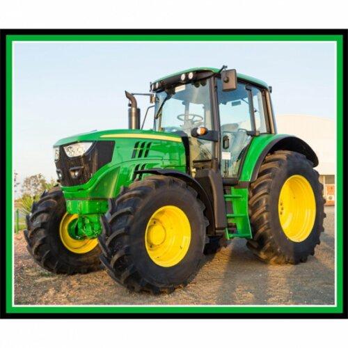 Farm Machines Large Green Tractor Panel 100% Cotton Print Fabric