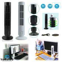 Portable USB Tower Fan Cooling Bladeless 2 Speed Air Conditioner PC Laptop Desk