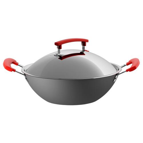 Large Aluminium Wok 32cm Deep Non Stick Stir Fry Pan Handle Dark Grey