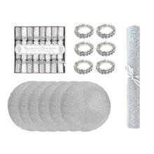 21pc Christmas Table Set Silver Napkin Rings Table Runner Saucer Crackers Placemats