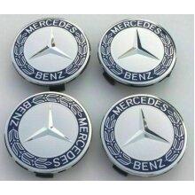 New Mercedes Benz Alloy Wheel Centre Caps 75mm Badges Blue Hub Emblem
