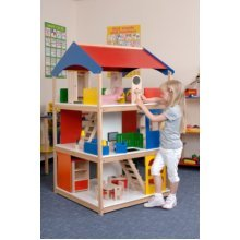 Childrens Giant Wooden Dolls House with Furniture & Dolls (A1427)