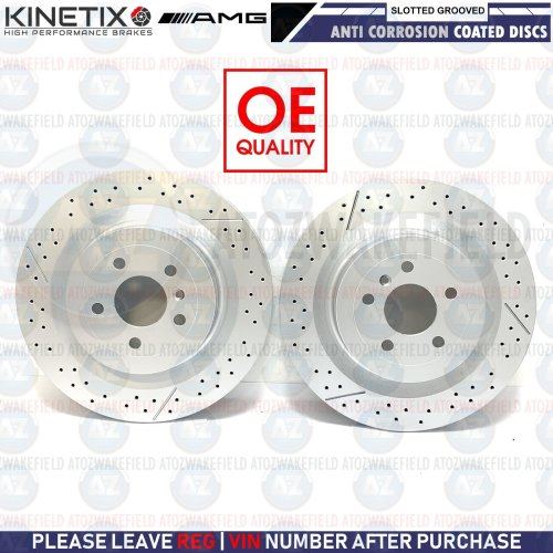 FOR MERCEDES ML63 GLE63 GL63 GLS63 AMG REAR DRILLED GROOVED BRAKE DISCS 345mm