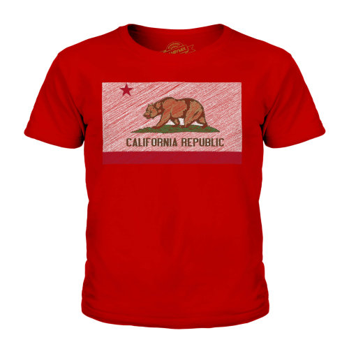 Candymix - California State Scribble Flag - Unisex Kid's T-Shirt