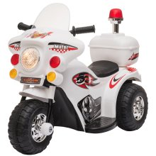 HOMCOM Toddler 3km/h Electric Motorbike Ride On w/ Lights Music Horn Storage White