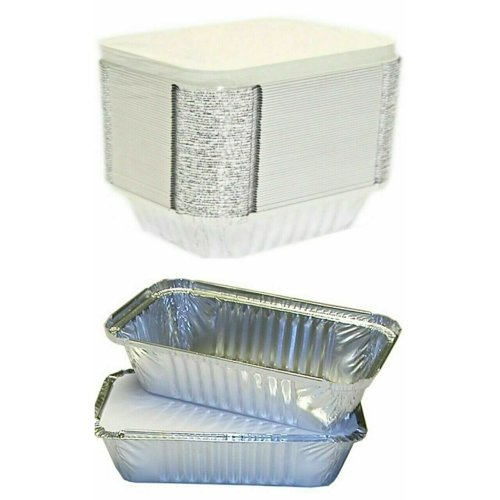 50 PCS 6A ALUMINIUM FOIL CONTAINERS WITH LID FOOD TAKEAWAY CATERING
