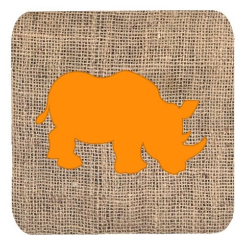 Rhinoceros Burlap And Orange Foam Coasters - Set 4, 3.5 x 3.5 In.